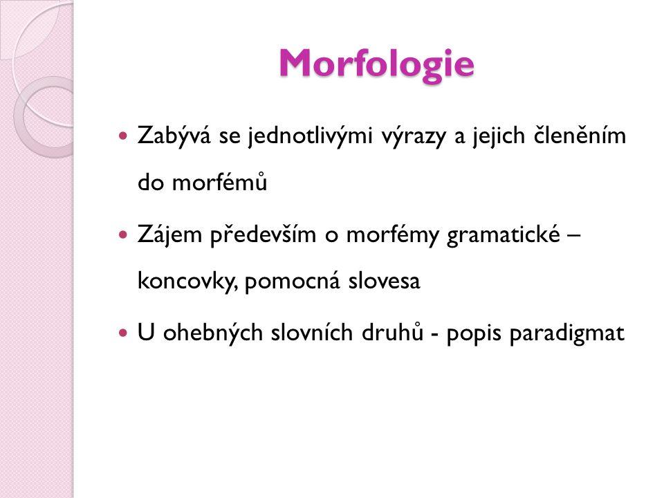 Morfologie  Zabývá se jednotlivými výrazy a jejich členěním do morfémů  Zájem především o morfémy gramatické – koncovky, pomocná slovesa  U ohebnýc