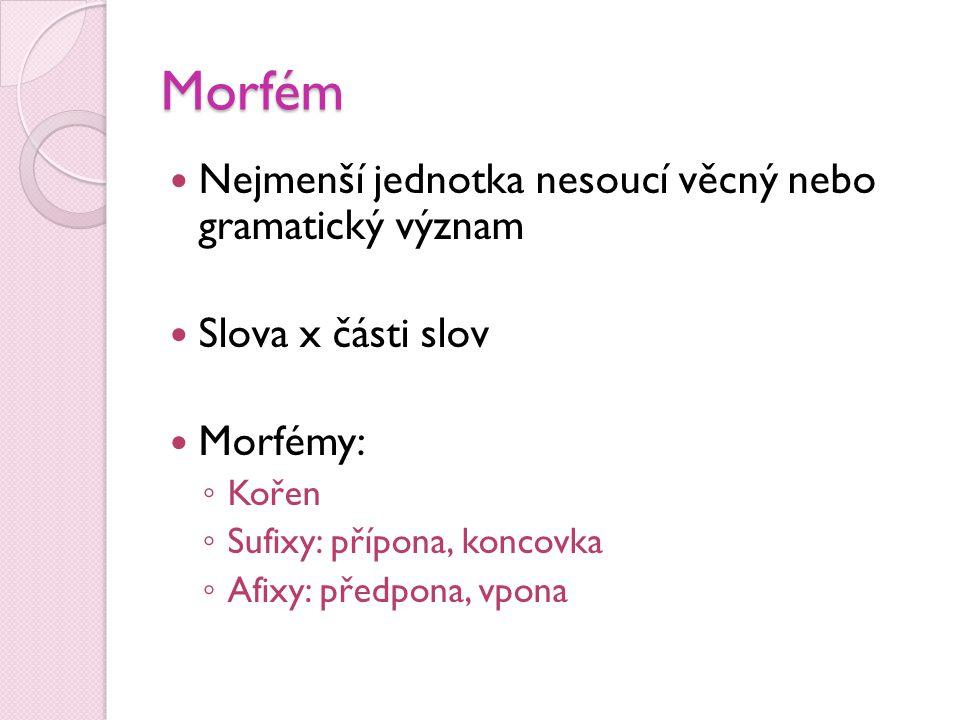 Morfém  Nejmenší jednotka nesoucí věcný nebo gramatický význam  Slova x části slov  Morfémy: ◦ Kořen ◦ Sufixy: přípona, koncovka ◦ Afixy: předpona,