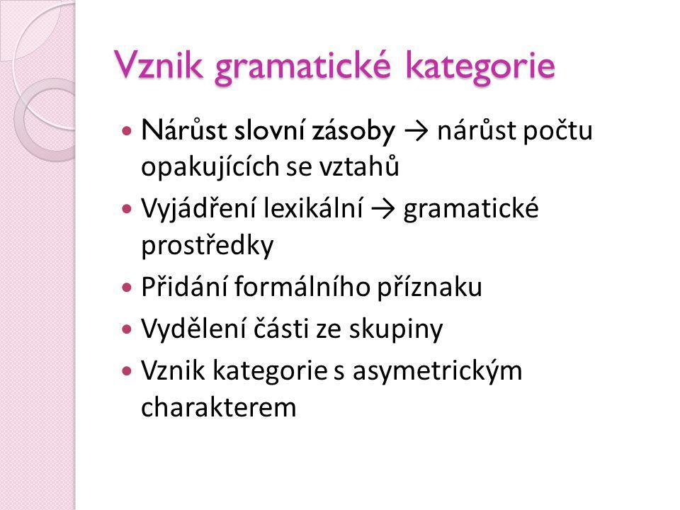 Vznik gramatické kategorie  Nárůst slovní zásoby → nárůst počtu opakujících se vztahů  Vyjádření lexikální → gramatické prostředky  Přidání formáln