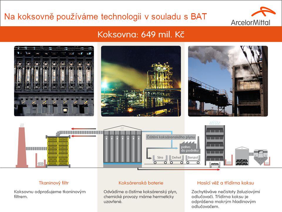 Na koksovně používáme technologii v souladu s BAT 9
