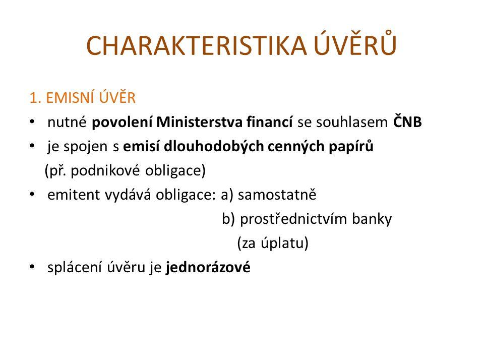 CHARAKTERISTIKA ÚVĚRŮ 1.