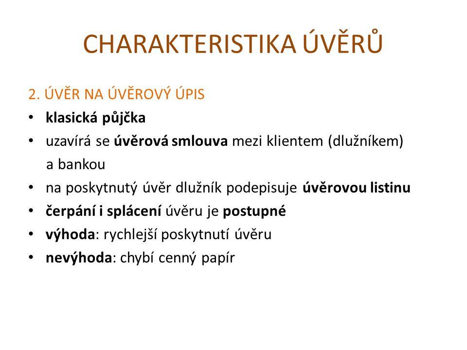 CHARAKTERISTIKA ÚVĚRŮ 2.