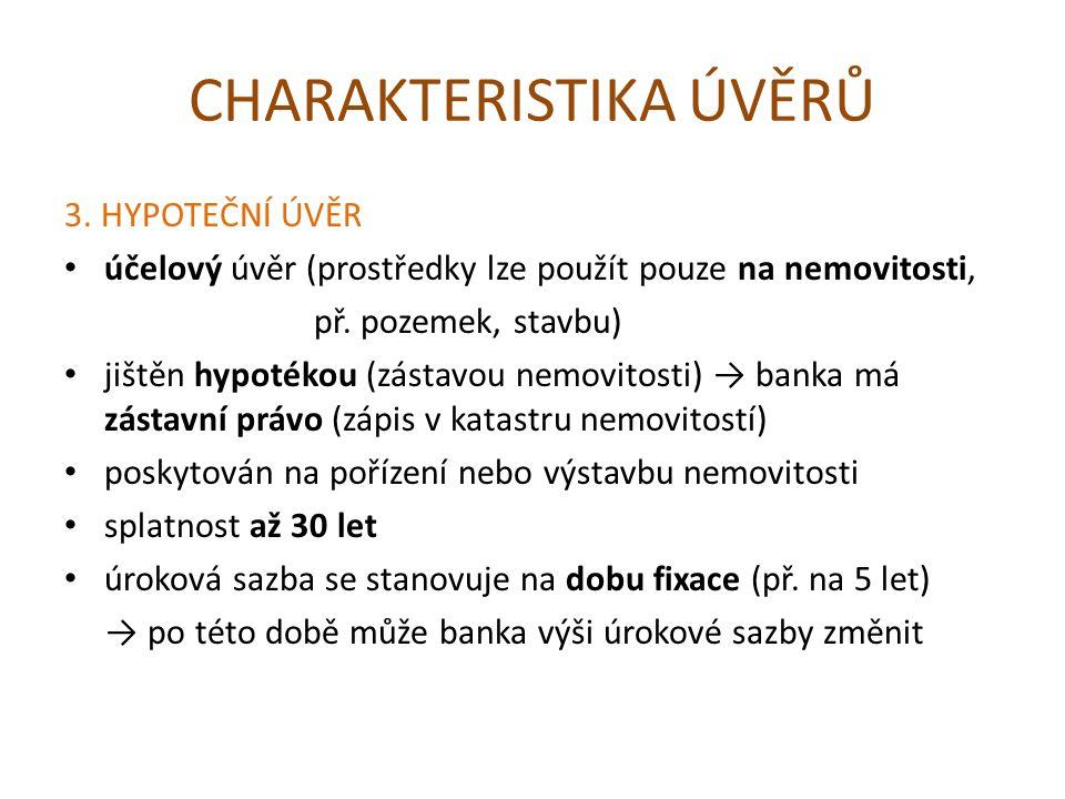 CHARAKTERISTIKA ÚVĚRŮ 3.