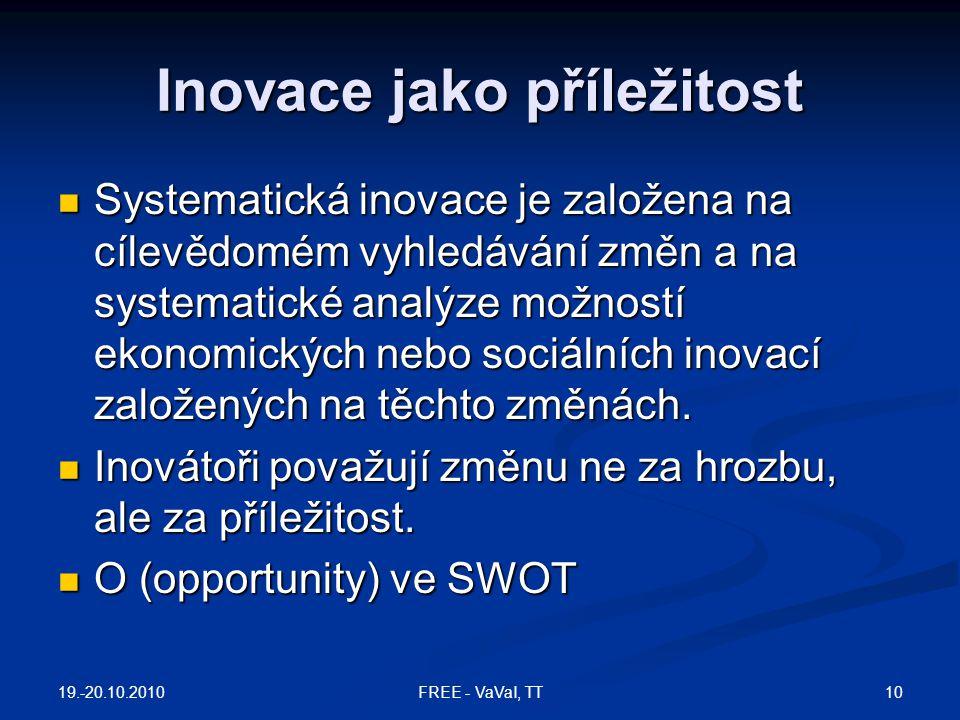 Inovace jako příležitost  Systematická inovace je založena na cílevědomém vyhledávání změn a na systematické analýze možností ekonomických nebo sociá