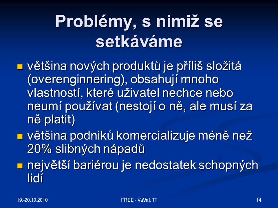 Problémy, s nimiž se setkáváme  většina nových produktů je příliš složitá (overenginnering), obsahují mnoho vlastností, které uživatel nechce nebo ne