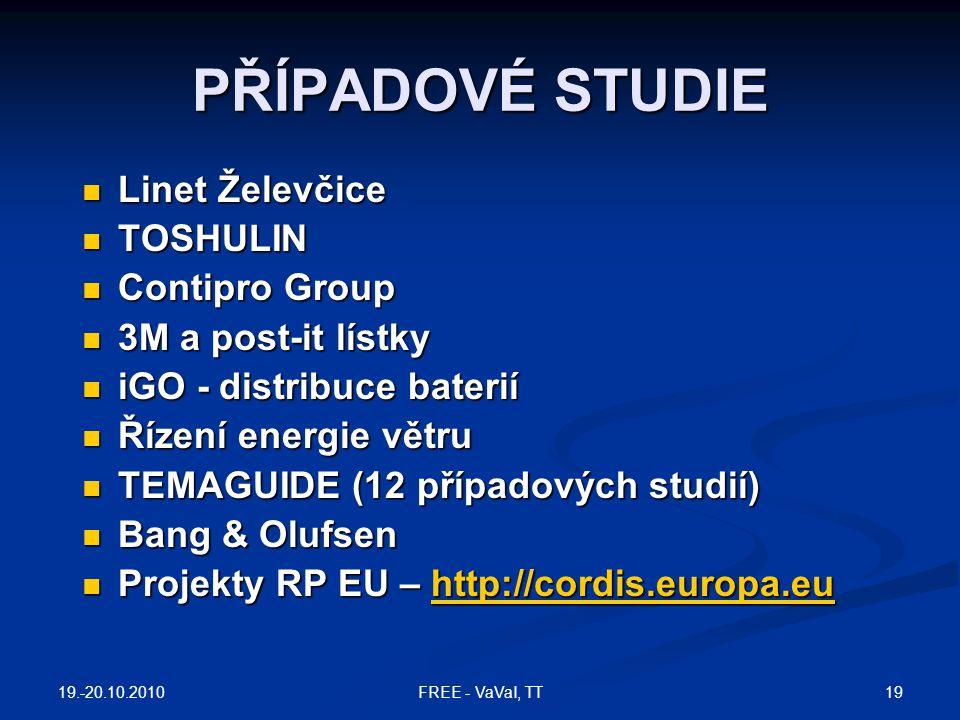 PŘÍPADOVÉ STUDIE  Linet Želevčice  TOSHULIN  Contipro Group  3M a post-it lístky  iGO - distribuce baterií  Řízení energie větru  TEMAGUIDE (12