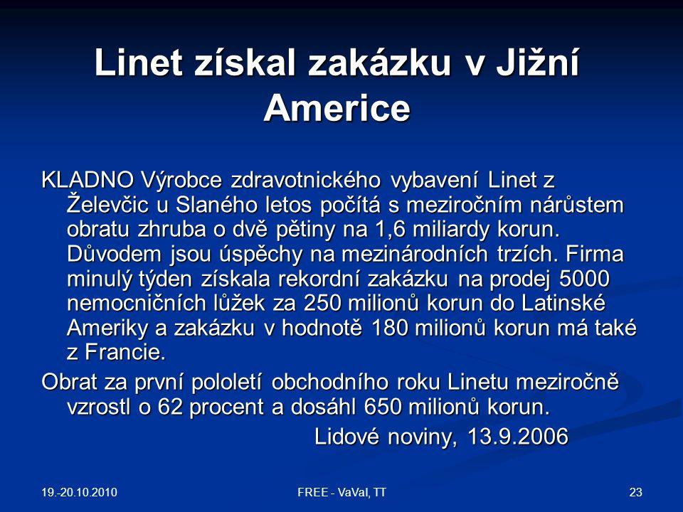 Linet získal zakázku v Jižní Americe KLADNO Výrobce zdravotnického vybavení Linet z Želevčic u Slaného letos počítá s meziročním nárůstem obratu zhrub