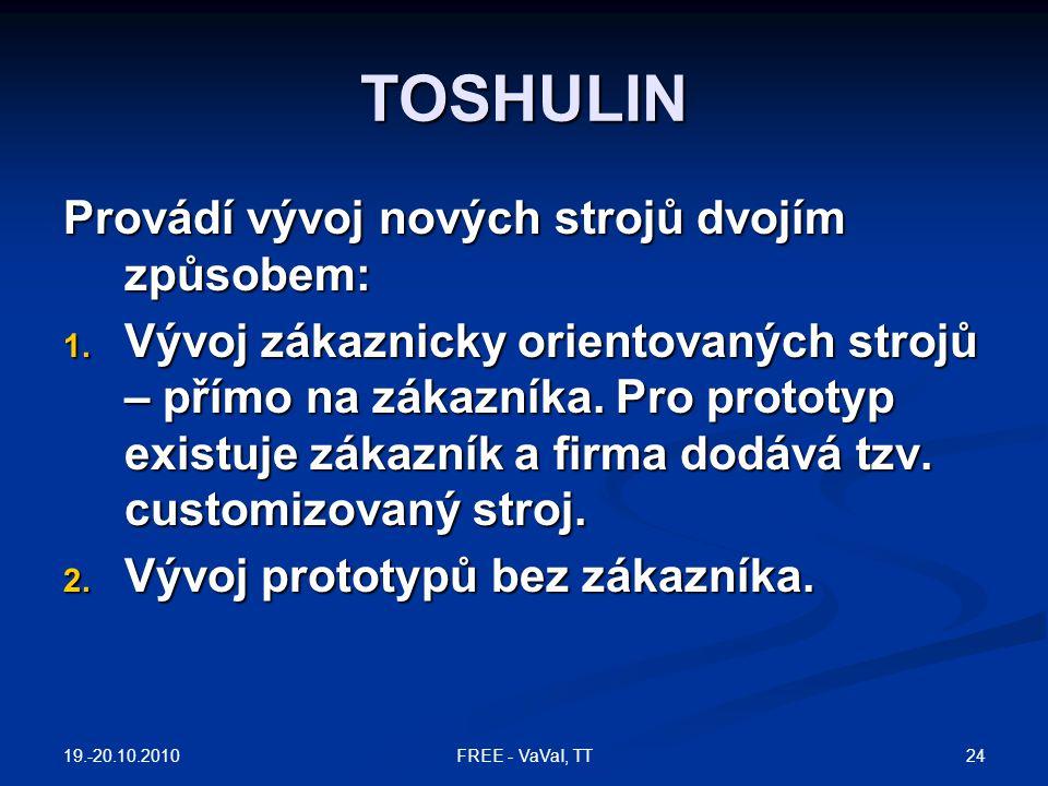 TOSHULIN Provádí vývoj nových strojů dvojím způsobem: 1. Vývoj zákaznicky orientovaných strojů – přímo na zákazníka. Pro prototyp existuje zákazník a