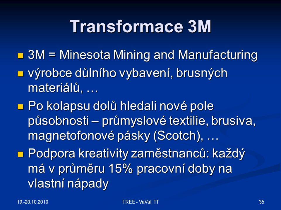 Transformace 3M  3M = Minesota Mining and Manufacturing  výrobce důlního vybavení, brusných materiálů, …  Po kolapsu dolů hledali nové pole působno