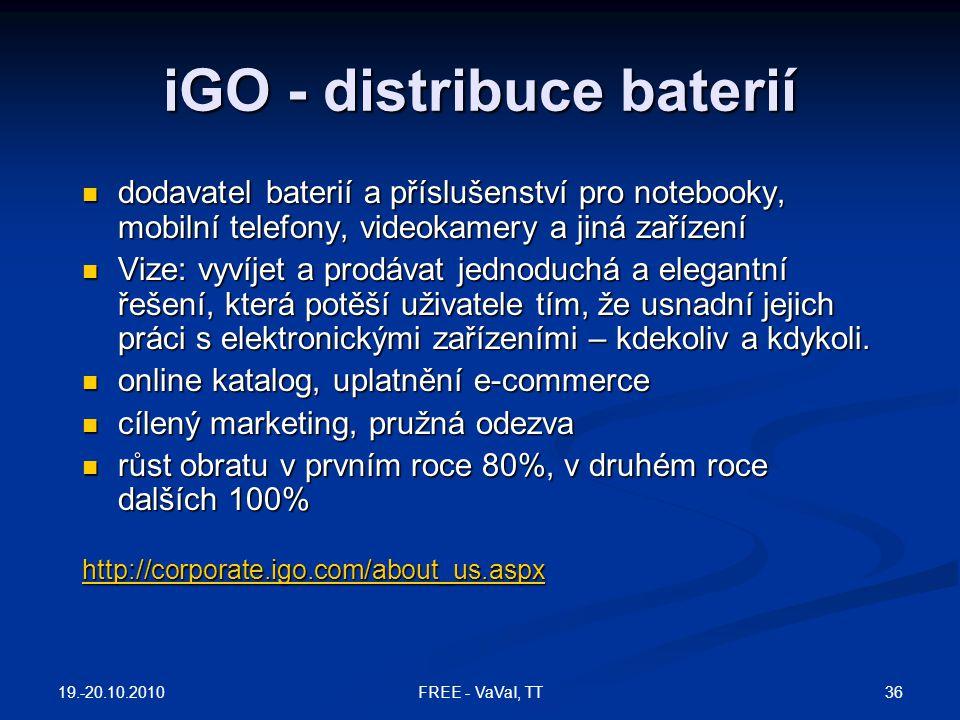 iGO - distribuce baterií  dodavatel baterií a příslušenství pro notebooky, mobilní telefony, videokamery a jiná zařízení  Vize: vyvíjet a prodávat j
