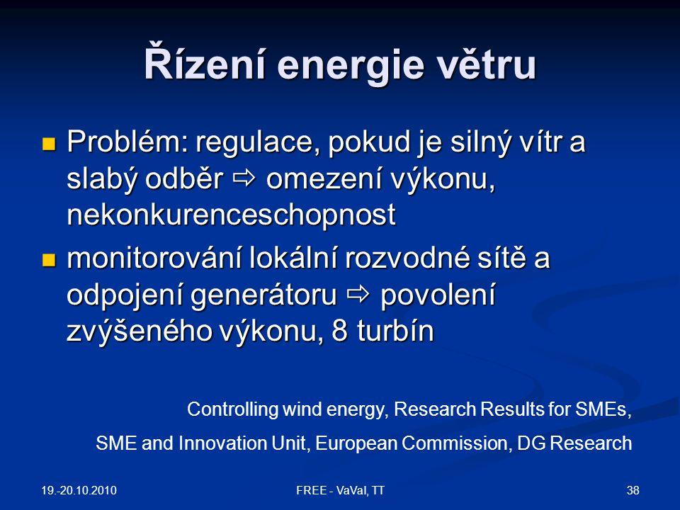 Řízení energie větru  Problém: regulace, pokud je silný vítr a slabý odběr  omezení výkonu, nekonkurenceschopnost  monitorování lokální rozvodné sí