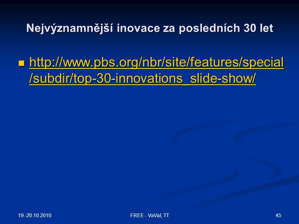 Nejvýznamnější inovace za posledních 30 let  http://www.pbs.org/nbr/site/features/special /subdir/top-30-innovations_slide-show/ http://www.pbs.org/n