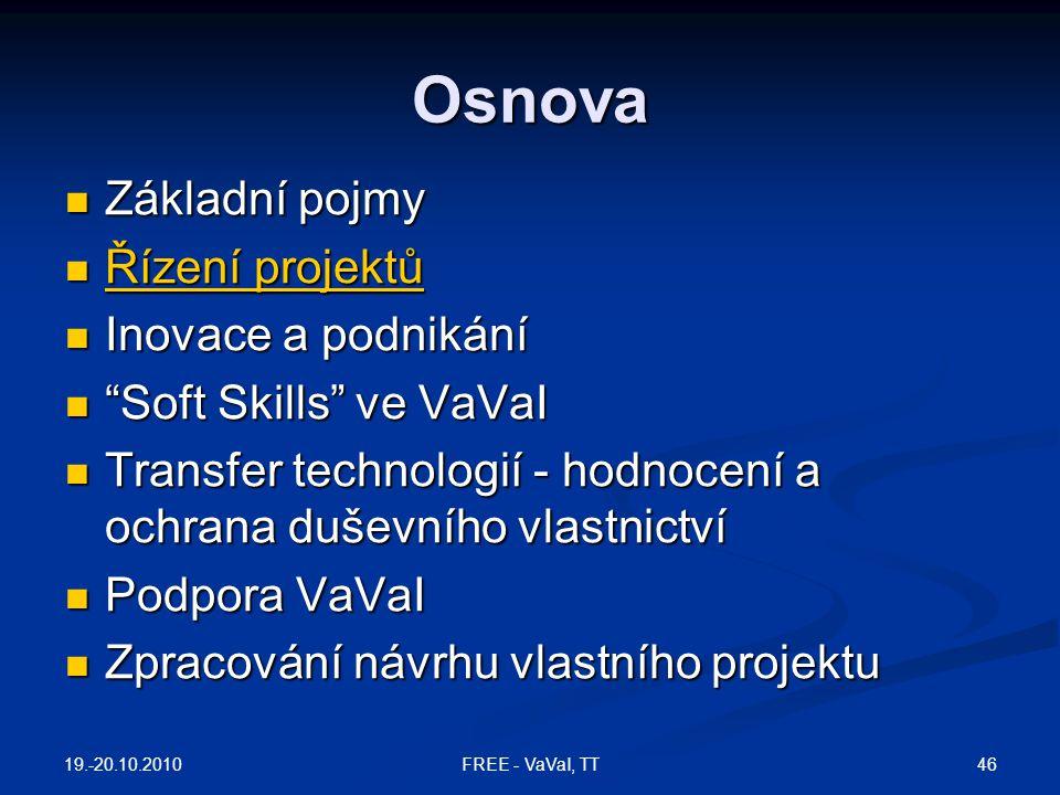 """Osnova  Základní pojmy  Řízení projektů Řízení projektů Řízení projektů  Inovace a podnikání  """"Soft Skills"""" ve VaVaI  Transfer technologií - hodn"""