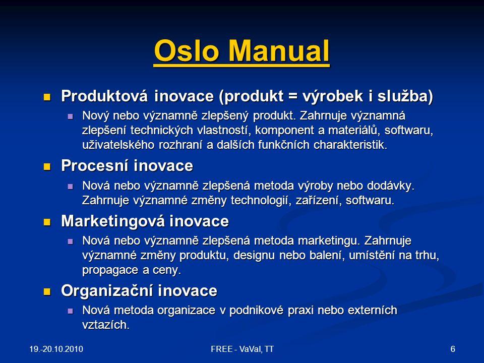 Oslo Manual Oslo Manual  Produktová inovace (produkt = výrobek i služba)  Nový nebo významně zlepšený produkt. Zahrnuje významná zlepšení technickýc