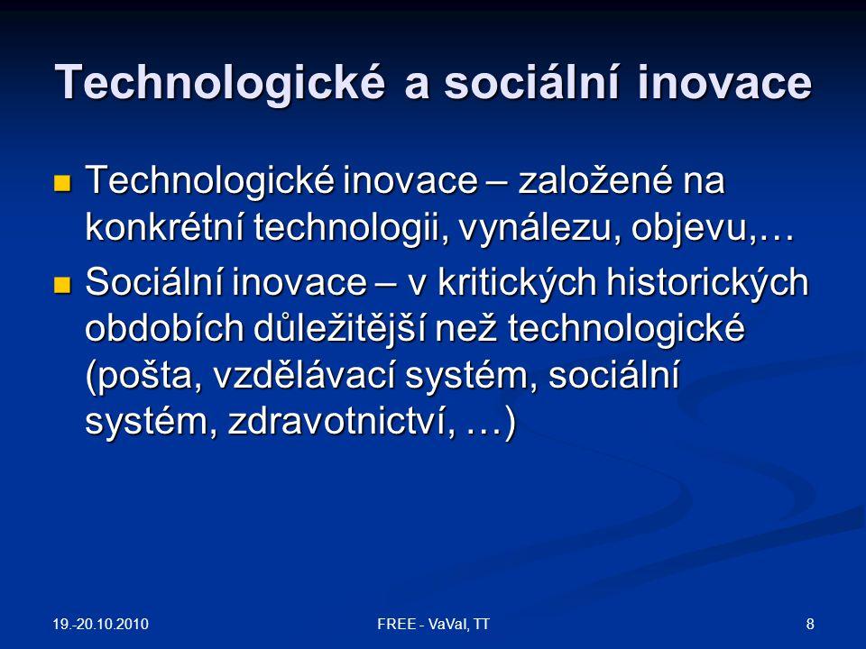 Technologické a sociální inovace  Technologické inovace – založené na konkrétní technologii, vynálezu, objevu,…  Sociální inovace – v kritických his