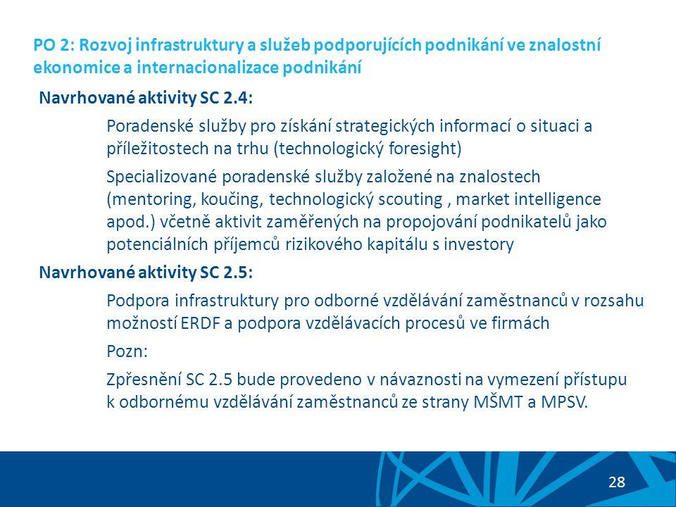 """29 PO 2: Rozvoj infrastruktury a služeb podporujících podnikání ve znalostní ekonomice a internacionalizace podnikání Potenciální příjemci podpory v prioritní ose: Sektor MSP – začínající podniky – podniky ve fázi rozvoje Soulad s TC 3 """"Zvýšení konkurenceschopnosti MSP Z diskuse PS 2: otázka vzdělávání zaměstnanců"""