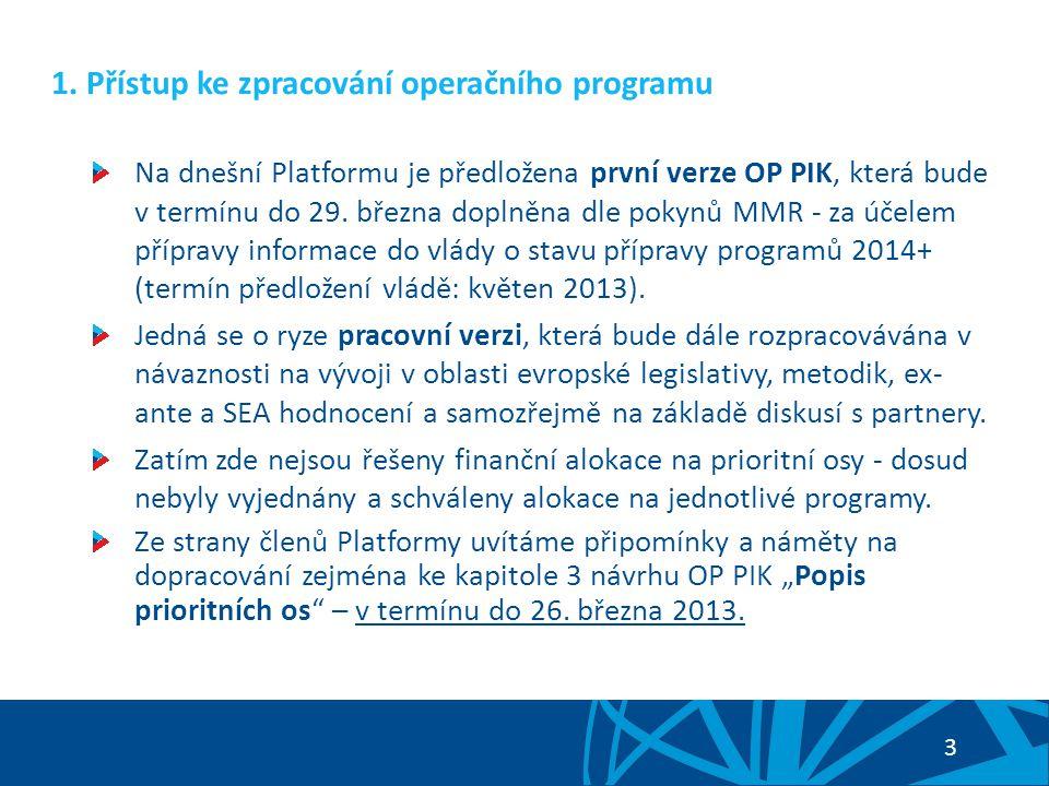 3 1. Přístup ke zpracování operačního programu Na dnešní Platformu je předložena první verze OP PIK, která bude v termínu do 29. března doplněna dle p