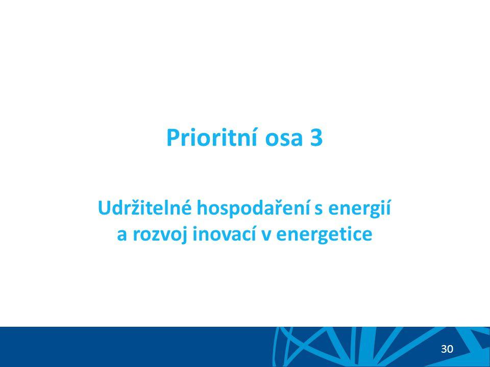 """31 PO 3: Udržitelné hospodaření s energií a rozvoj inovací v energetice Cíl prioritní osy: Posílení konkurenceschopnosti ČR napříč všemi sektory zvýšením energetické efektivnosti, využitím potenciálu obnovitelných a druhotných zdrojů energie a posílením a modernizací energetické infrastruktury podpořené vědou a výzkumem v energetice Zaměření prioritní osy: snižování energetické náročnosti výroby, úspory energie, využití obnovitelných zdrojů energie, druhotných zdrojů energie, rozvoj a modernizace přenosových sítí, modernizace a rozvoj tepelných rozvodných zařízení, výzkum, vývoj a inovace v energetice Tematický cíl 4 """"Podpora přechodu na nízkouhlíkové hospodářství ve všech odvětvích (čl."""