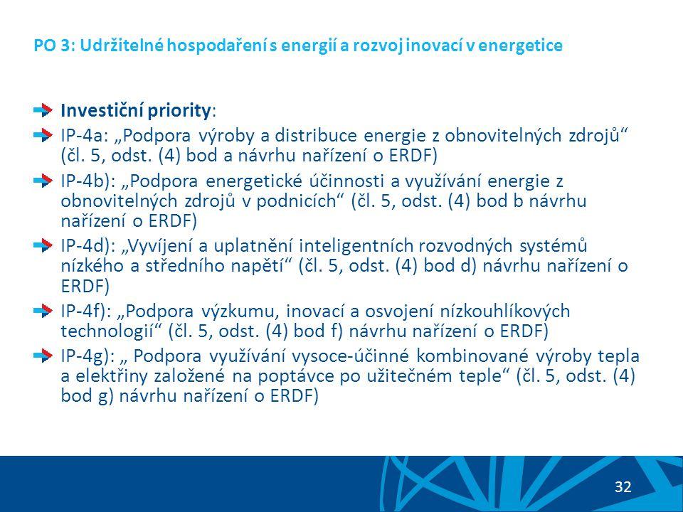 33 PO 3: Udržitelné hospodaření s energií a rozvoj inovací v energetice Nadefinované specifické cíle prioritní osy: SC 3.1: Zvýšení podílu využívání OZE v rámci energetického mixu ČR (vazba na IP-4a) SC 3.2: Snižování energetické náročnosti podnikatelského sektoru a rozvíjení energetických služeb (vazba na IP-4b) SC 3.3: Modernizace a rozvoj přenosových a distribučních sítí (vazba na IP-4d) SC 3.4: Větší uplatnění výzkumu a inovací v energetice a zvýšení využívání druhotných surovin (vazba na IP-4f) SC 3.5: Zvýšení využití a zavádění kombinované výroby elektřiny a tepla (vazba na IP -4g)