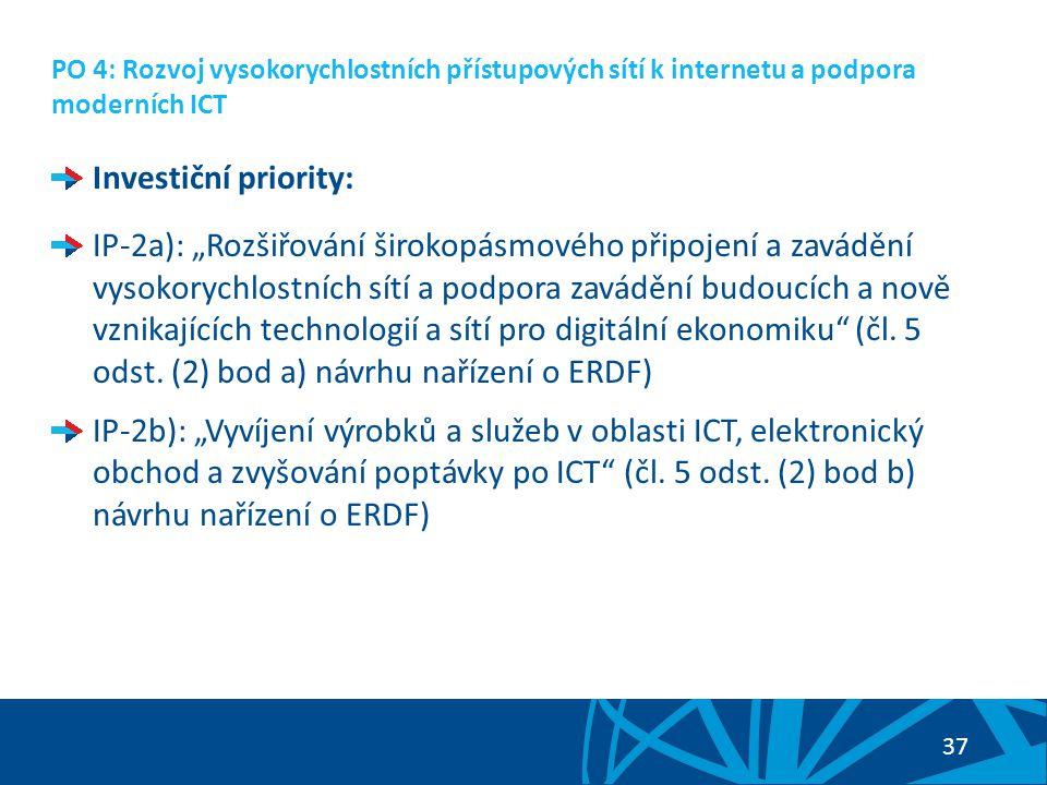 38 PO 4: Rozvoj vysokorychlostních přístupových sítí k internetu a podpora moderních ICT Nadefinované specifické cíle prioritní osy: SC 4.1: Zvýšení pokrytí vysokorychlostním přístupem k internetu (vazba na IP-2a) SC 4.2: Rozvoj nejmodernějších a pokročilých informačních a komunikačních technologií a podpora poskytování souvisejících sdílených služeb (vazba na IP-2b)