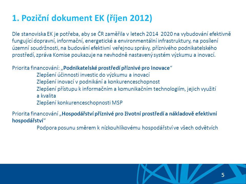 5 1. Poziční dokument EK (říjen 2012) Dle stanoviska EK je potřeba, aby se ČR zaměřila v letech 2014 2020 na vybudování efektivně fungující dopravní,