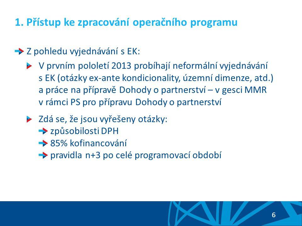 6 1. Přístup ke zpracování operačního programu Z pohledu vyjednávání s EK: V prvním pololetí 2013 probíhají neformální vyjednávání s EK (otázky ex-ant