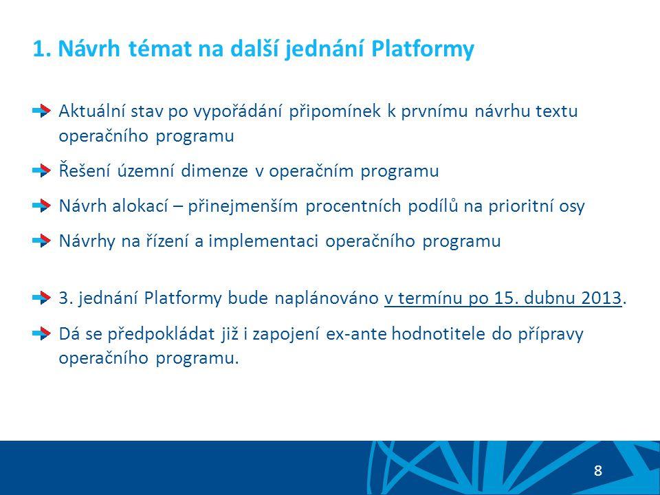 9 2.Informace o přípravě OP PIK Kromě respektování dosavadních návrhů nařízení (tzv.