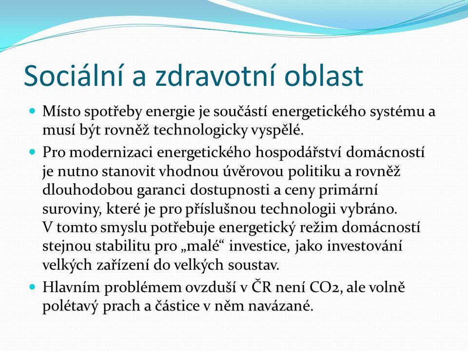Sociální a zdravotní oblast  Místo spotřeby energie je součástí energetického systému a musí být rovněž technologicky vyspělé.  Pro modernizaci ener