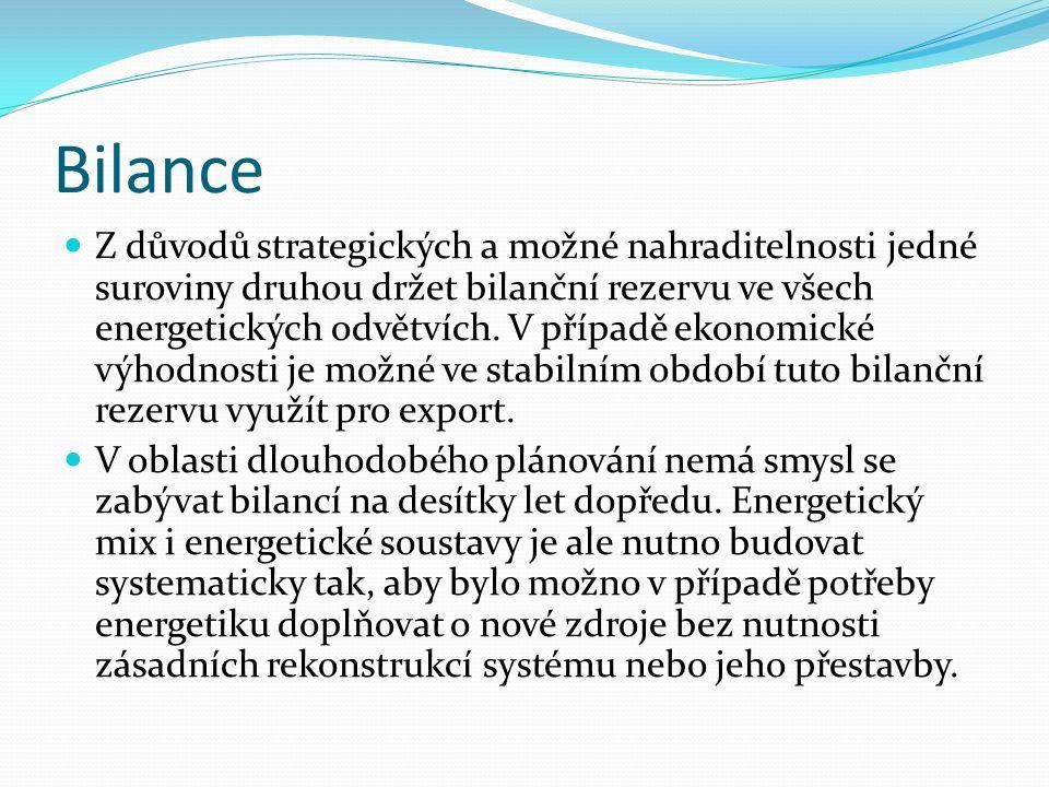 Bilance  Z důvodů strategických a možné nahraditelnosti jedné suroviny druhou držet bilanční rezervu ve všech energetických odvětvích. V případě ekon