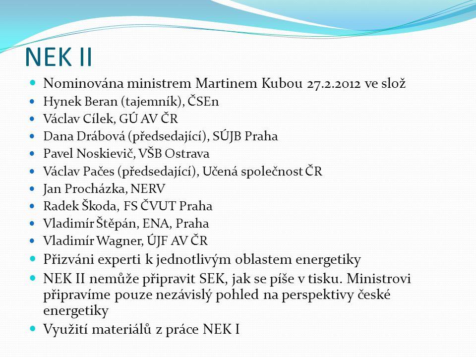 NEK II  Nominována ministrem Martinem Kubou 27.2.2012 ve slož  Hynek Beran (tajemník), ČSEn  Václav Cílek, GÚ AV ČR  Dana Drábová (předsedající),