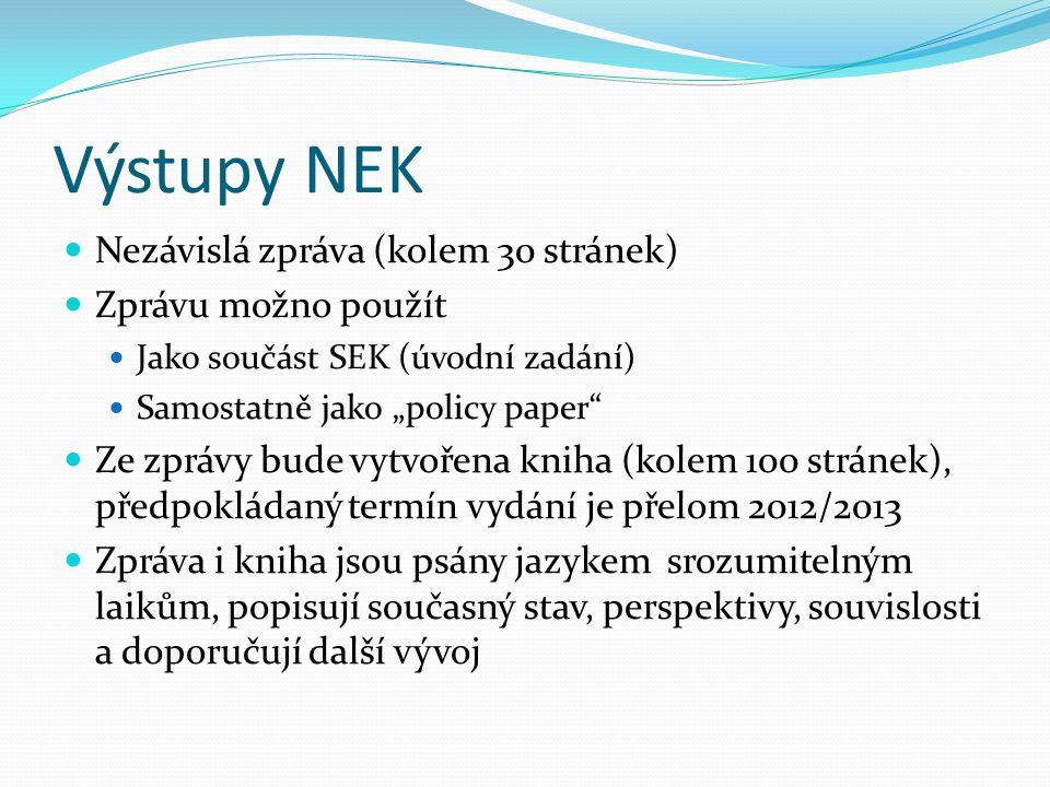 """Výstupy NEK  Nezávislá zpráva (kolem 30 stránek)  Zprávu možno použít  Jako součást SEK (úvodní zadání)  Samostatně jako """"policy paper""""  Ze zpráv"""