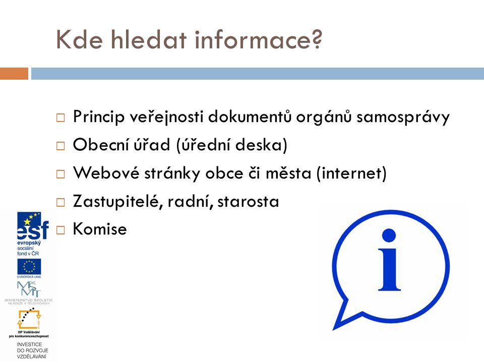 Kde hledat informace?  Princip veřejnosti dokumentů orgánů samosprávy  Obecní úřad (úřední deska)  Webové stránky obce či města (internet)  Zastup
