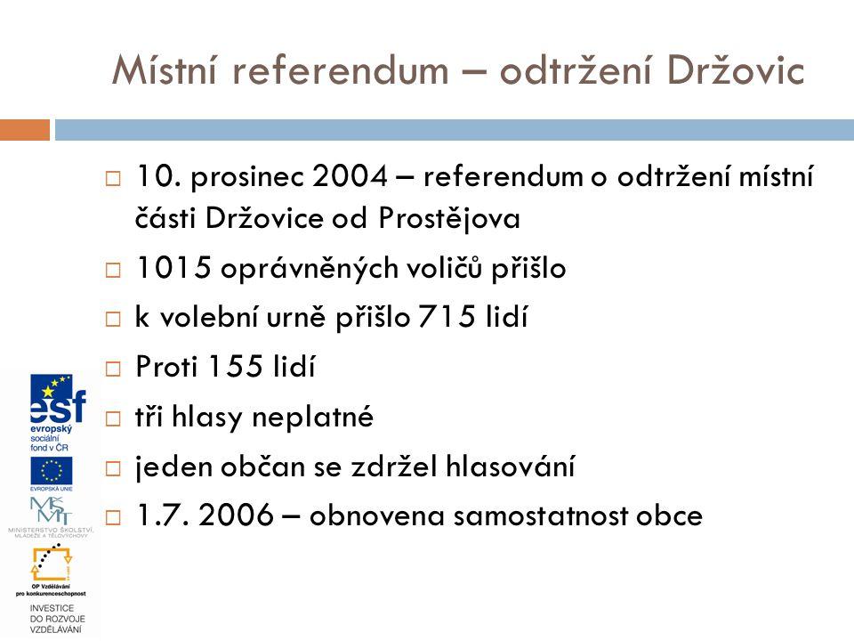 Místní referendum – odtržení Držovic  10. prosinec 2004 – referendum o odtržení místní části Držovice od Prostějova  1015 oprávněných voličů přišlo