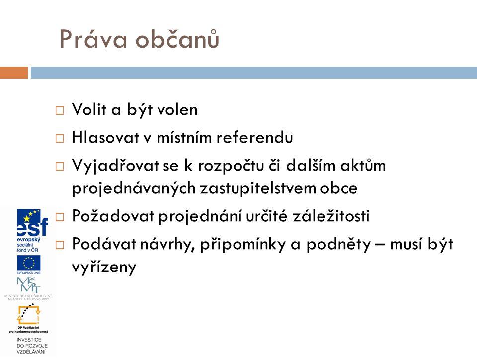  Volit a být volen  Hlasovat v místním referendu  Vyjadřovat se k rozpočtu či dalším aktům projednávaných zastupitelstvem obce  Požadovat projedná
