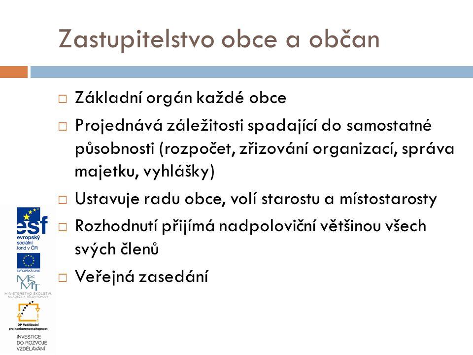  Základní orgán každé obce  Projednává záležitosti spadající do samostatné působnosti (rozpočet, zřizování organizací, správa majetku, vyhlášky)  U