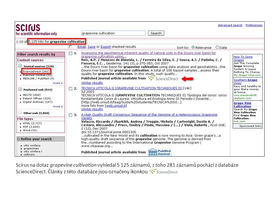 Scirus na dotaz grapevine cultivation vyhledal 5 125 záznamů, z toho 281 záznamů pochází z databáze ScienceDirect. Články z této databáze jsou označen