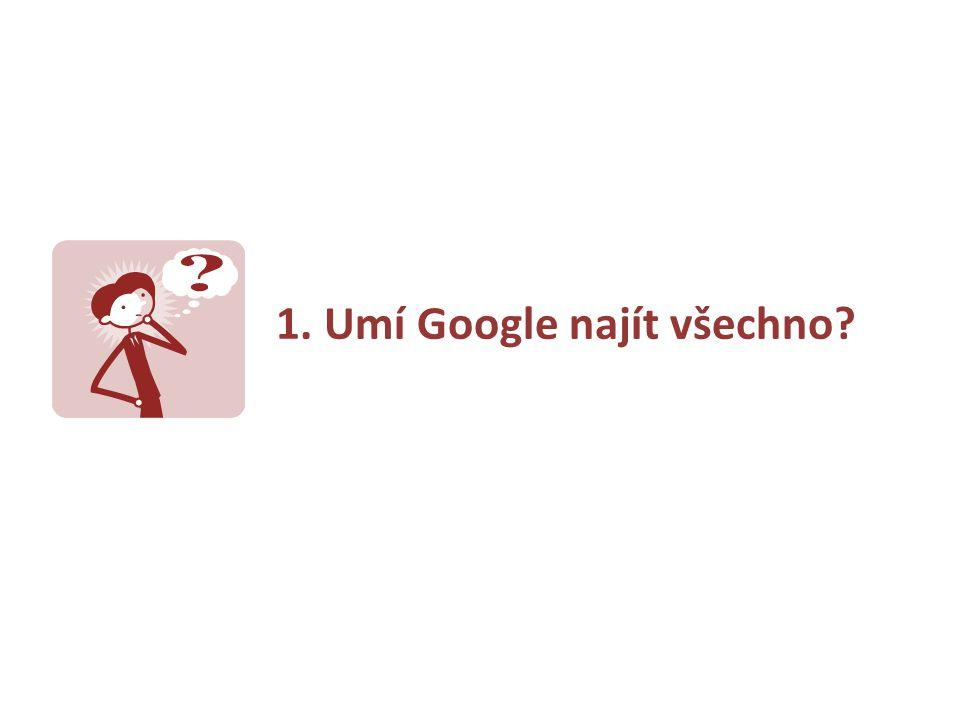1. Umí Google najít všechno?
