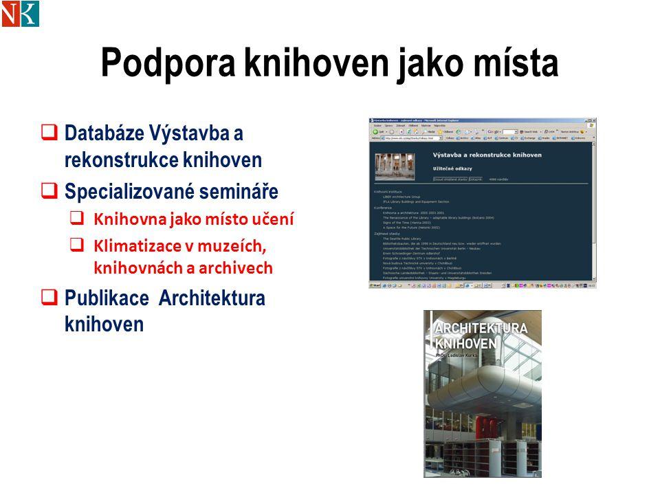 Podpora knihoven jako místa  Databáze Výstavba a rekonstrukce knihoven  Specializované semináře  Knihovna jako místo učení  Klimatizace v muzeích, knihovnách a archivech  Publikace Architektura knihoven