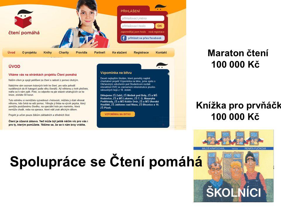 Spolupráce se Čtení pomáhá Knížka pro prvňáčka 100 000 Kč Maraton čtení 100 000 Kč
