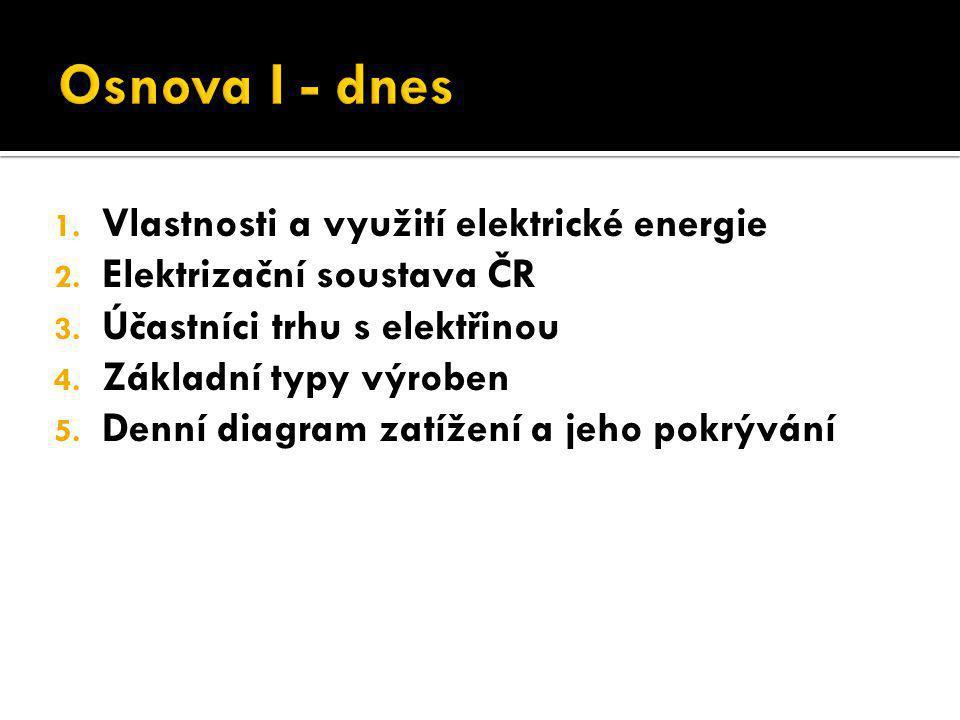1. Vlastnosti a využití elektrické energie 2. Elektrizační soustava ČR 3. Účastníci trhu s elektřinou 4. Základní typy výroben 5. Denní diagram zatíže