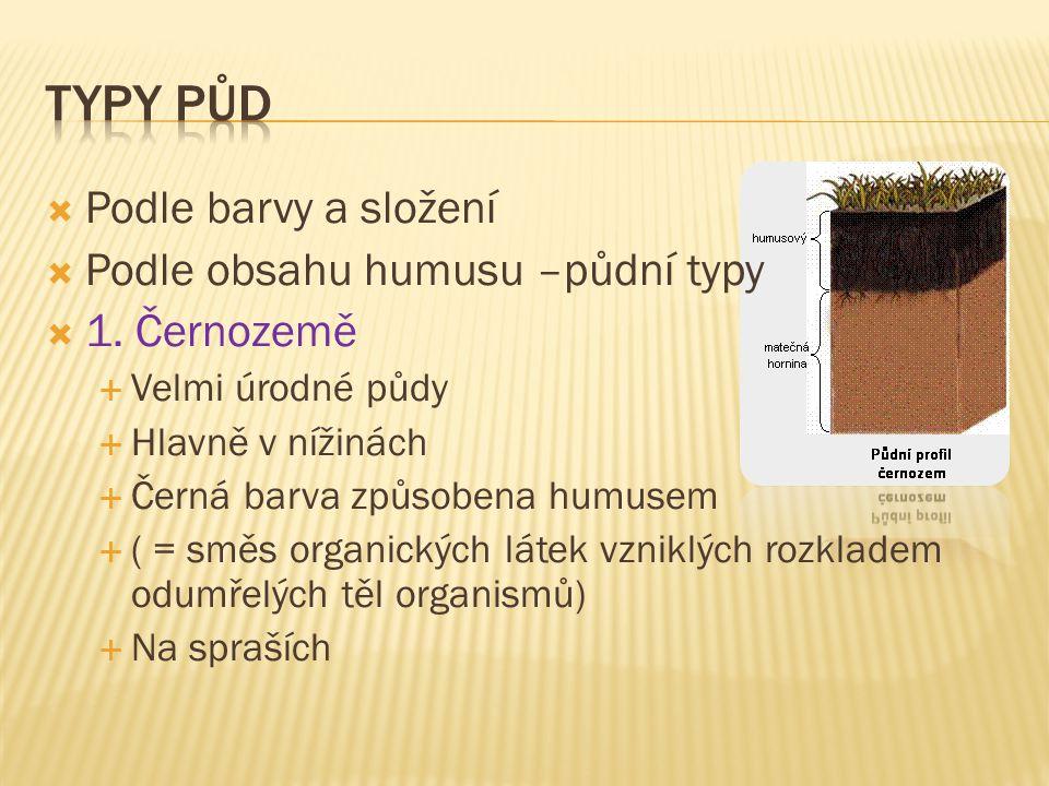  Podle barvy a složení  Podle obsahu humusu –půdní typy  1.