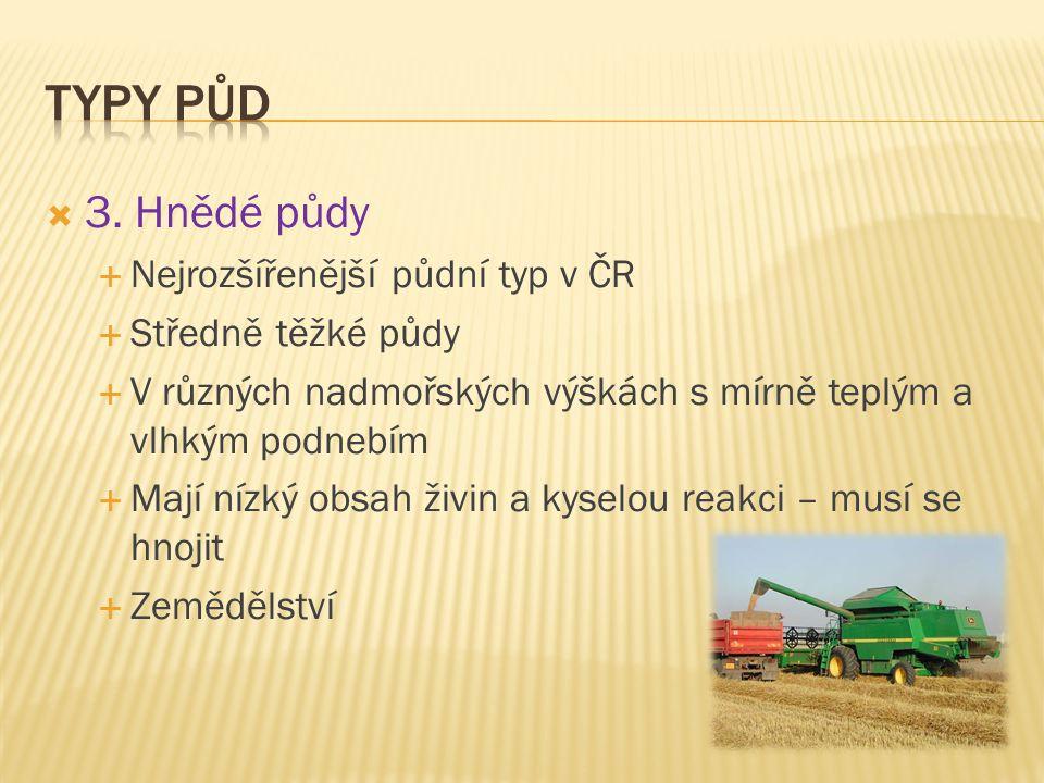  3. Hnědé půdy  Nejrozšířenější půdní typ v ČR  Středně těžké půdy  V různých nadmořských výškách s mírně teplým a vlhkým podnebím  Mají nízký ob