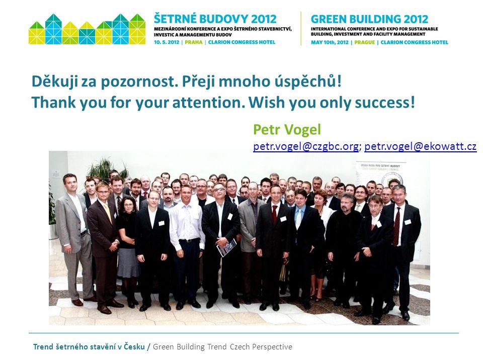 Děkuji za pozornost. Přeji mnoho úspěchů! Thank you for your attention. Wish you only success! Trend šetrného stavění v Česku / Green Building Trend C