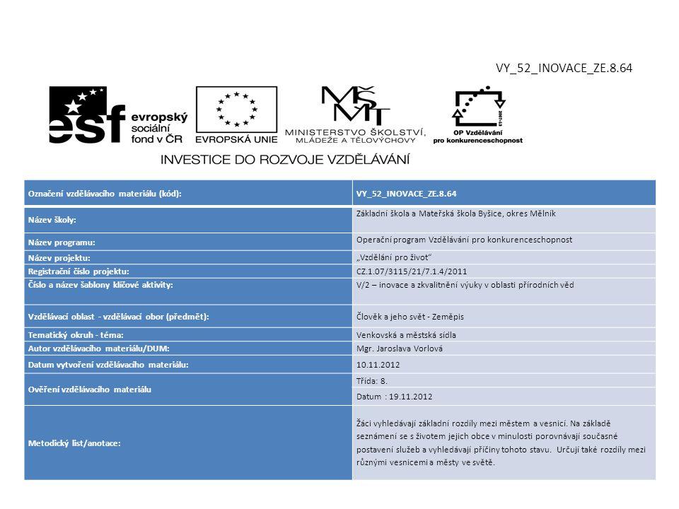 """Označení vzdělávacího materiálu (kód):VY_52_INOVACE_ZE.8.64 Název školy: Základní škola a Mateřská škola Byšice, okres Mělník Název programu: Operační program Vzdělávání pro konkurenceschopnost Název projektu: """"Vzdělání pro život Registrační číslo projektu: CZ.1.07/3115/21/7.1.4/2011 Číslo a název šablony klíčové aktivity:V/2 – inovace a zkvalitnění výuky v oblasti přírodních věd Vzdělávací oblast - vzdělávací obor (předmět):Člověk a jeho svět - Zeměpis Tematický okruh - téma:Venkovská a městská sídla Autor vzdělávacího materiálu/DUM:Mgr."""