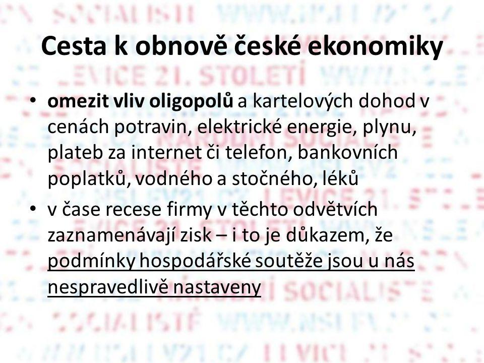 Cesta k obnově české ekonomiky • omezit vliv oligopolů a kartelových dohod v cenách potravin, elektrické energie, plynu, plateb za internet či telefon, bankovních poplatků, vodného a stočného, léků • v čase recese firmy v těchto odvětvích zaznamenávají zisk – i to je důkazem, že podmínky hospodářské soutěže jsou u nás nespravedlivě nastaveny