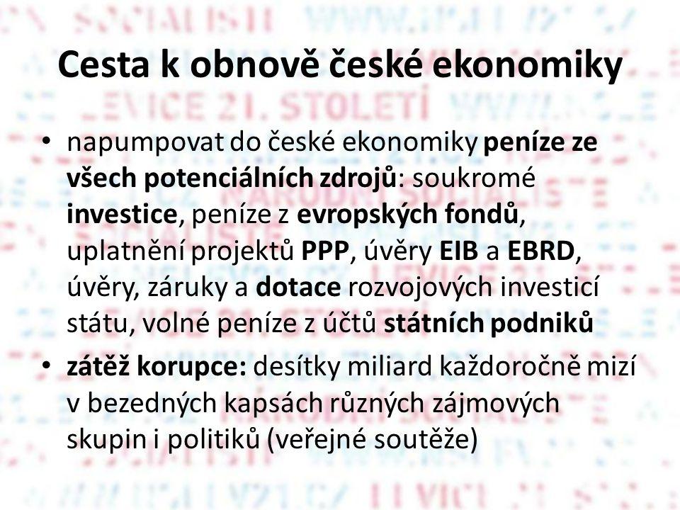 Cesta k obnově české ekonomiky • napumpovat do české ekonomiky peníze ze všech potenciálních zdrojů: soukromé investice, peníze z evropských fondů, uplatnění projektů PPP, úvěry EIB a EBRD, úvěry, záruky a dotace rozvojových investicí státu, volné peníze z účtů státních podniků • zátěž korupce: desítky miliard každoročně mizí v bezedných kapsách různých zájmových skupin i politiků (veřejné soutěže)