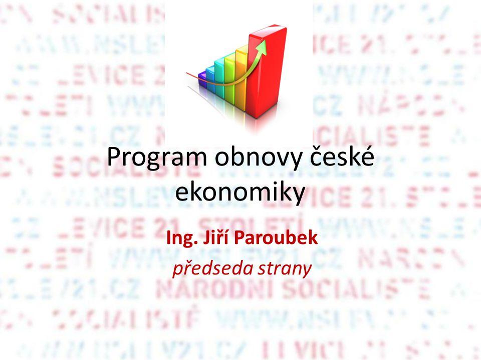 Program obnovy české ekonomiky Ing. Jiří Paroubek předseda strany