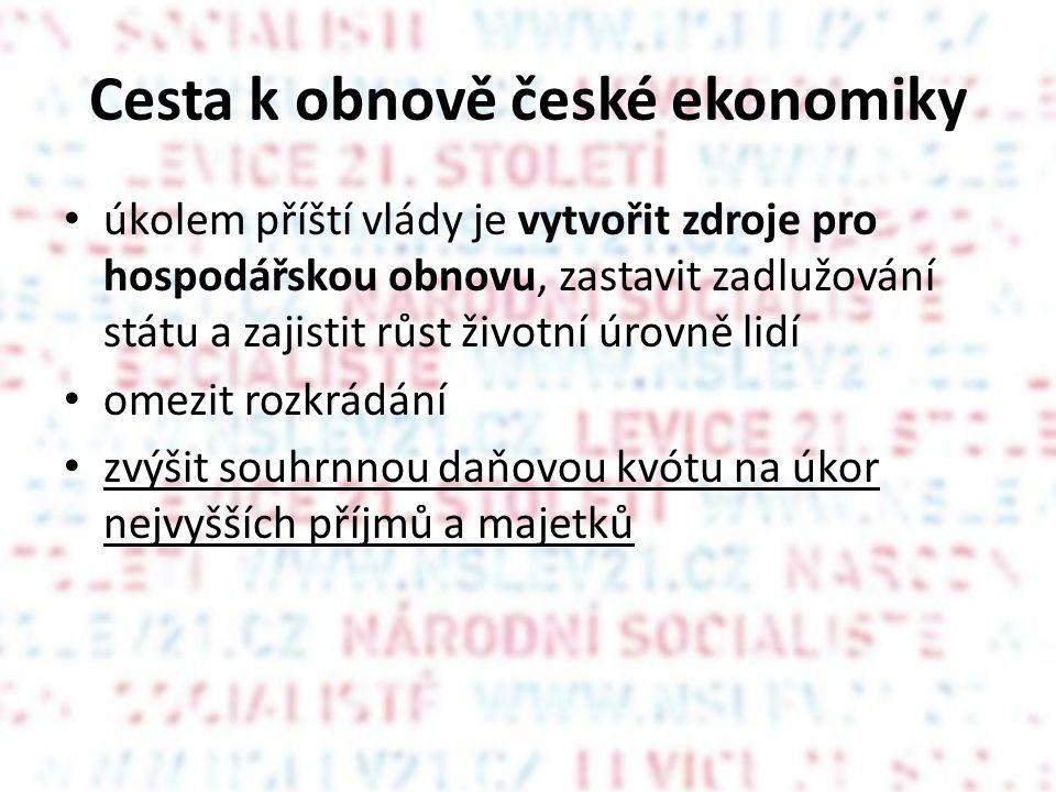 Cesta k obnově české ekonomiky • úkolem příští vlády je vytvořit zdroje pro hospodářskou obnovu, zastavit zadlužování státu a zajistit růst životní úrovně lidí • omezit rozkrádání • zvýšit souhrnnou daňovou kvótu na úkor nejvyšších příjmů a majetků