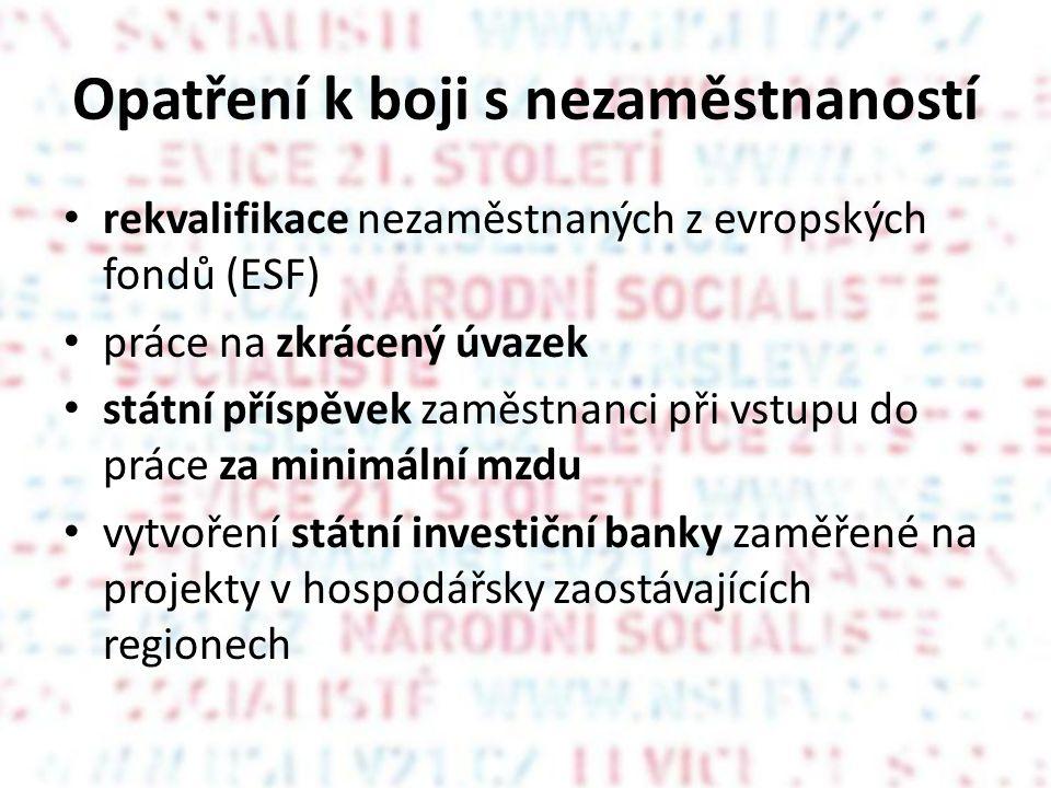 Opatření k boji s nezaměstnaností • rekvalifikace nezaměstnaných z evropských fondů (ESF) • práce na zkrácený úvazek • státní příspěvek zaměstnanci při vstupu do práce za minimální mzdu • vytvoření státní investiční banky zaměřené na projekty v hospodářsky zaostávajících regionech