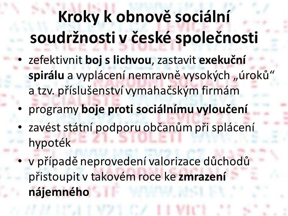 """Kroky k obnově sociální soudržnosti v české společnosti • zefektivnit boj s lichvou, zastavit exekuční spirálu a vyplácení nemravně vysokých """"úroků a tzv."""